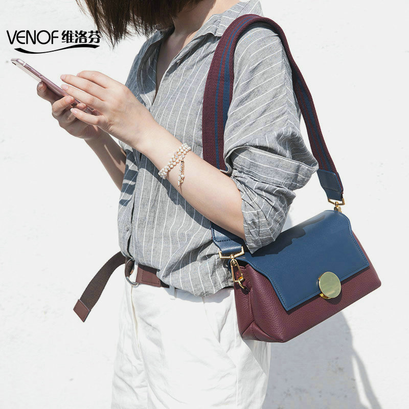 VENOF Fashion bolso mujer genuine leather women Messenger bag wide straps shoulder  bag contrast color ladies 9fd10b42d4f27