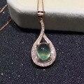Natural green пренит драгоценный камень кулон S925 серебро Природных драгоценных камней Ожерелье модный капли Воды женщин gril партия ювелирных изделий