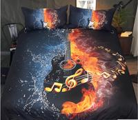 3D bedding sets And Water Guitar edding Set Printed Duvet Cover Set Music Youth Bedclothes 4 Piece Vivid Bed Cover Queen Bed