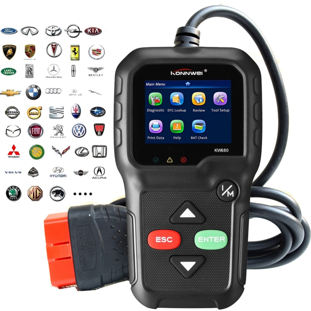 Best Car OBD2 Auto Diagnostic Scanner KW680 OBD2 Scanner code Reader In Russian Gas Diesel Analyzer Car Automotive Scan TooL 2016 new arrival vs 890 obd2 car scanner scantool obdii code reader tester diagnostic tools 3 inch lcd car detector