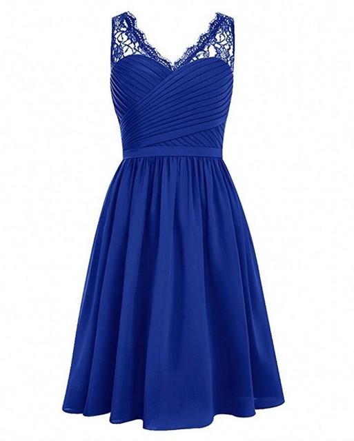 Royal Blau Schwarz V ausschnitt Spitze Chiffon Brautjungfer Kleider ...