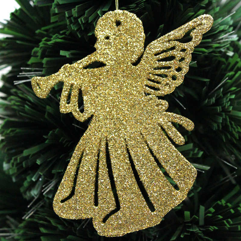 Angel Hair Christmas Tree Decoration.Anyonniex Gold Powder Plastic Horn Angel Christmas