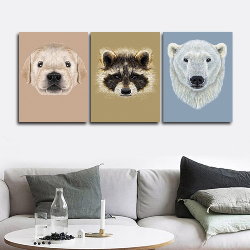 Dog Raccoon Polar bear Wall Picture Posters Print Canvas Painting Calligraphy Decor for Living Room Bedroom Home Frameless
