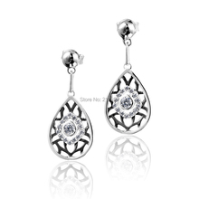 DORMITH free shipping 925 sterling silver Water drop earrings 0.96ct  AAA cubic zirconia for women earrings black gold plating