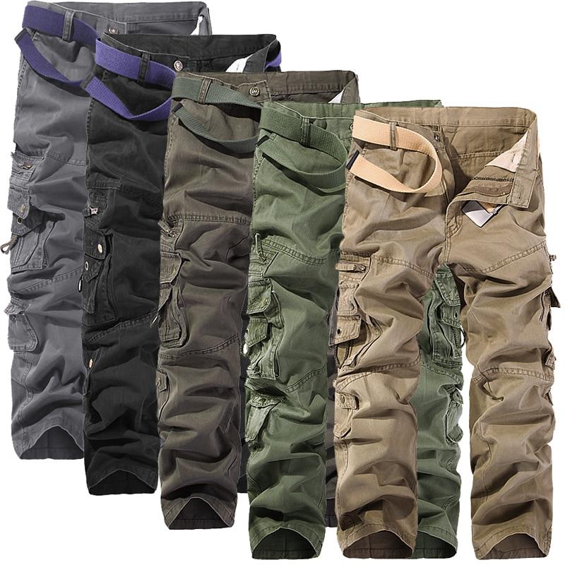 2018 Nuevos Hombres Pantalones de carga bolsillos grandes decoración para hombre Pantalones casuales lavado fácil otoño ejército verde pantalones pantalones masculinos tamaño 40