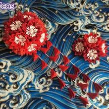 Головной убор ручной работы с цветами свадебный головной убор кимоно кистями ручной работы аксессуары для волос вишня, Сакура заколка для волос