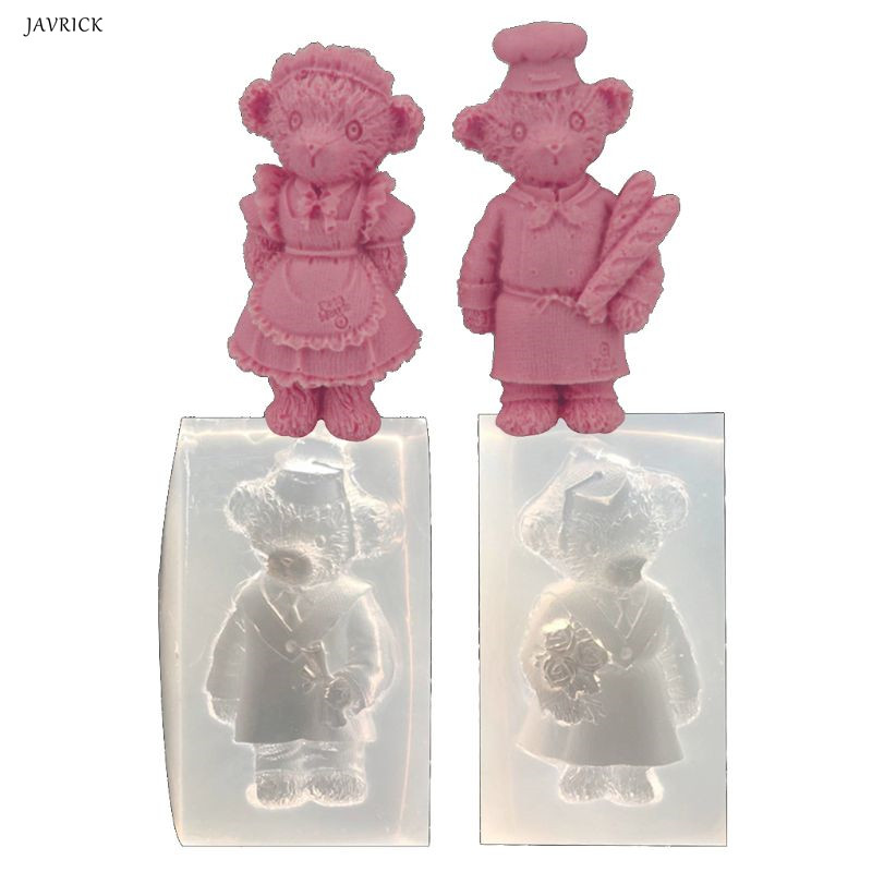 Silicone Resin Mold Cartoon Lovers Bear Silicone Mold Resin Casting Keychain Pendant Jewelry Tools