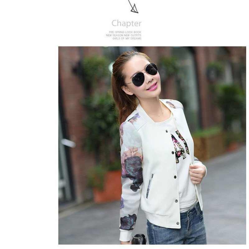 cdd98504464 2017 Women Jacket Brand Tops Flower Print Girl Plus Size Casual baseball  Sweatshirt Button Thin Bomber Long Sleeves Coat Jackets-in Basic Jackets  from ...