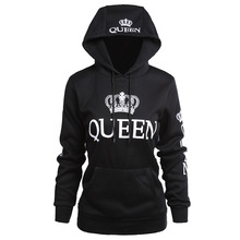 king queen printed hooded long sleeved couple sweatshirts mama winter casual  sleeve hoodie pullovers womens