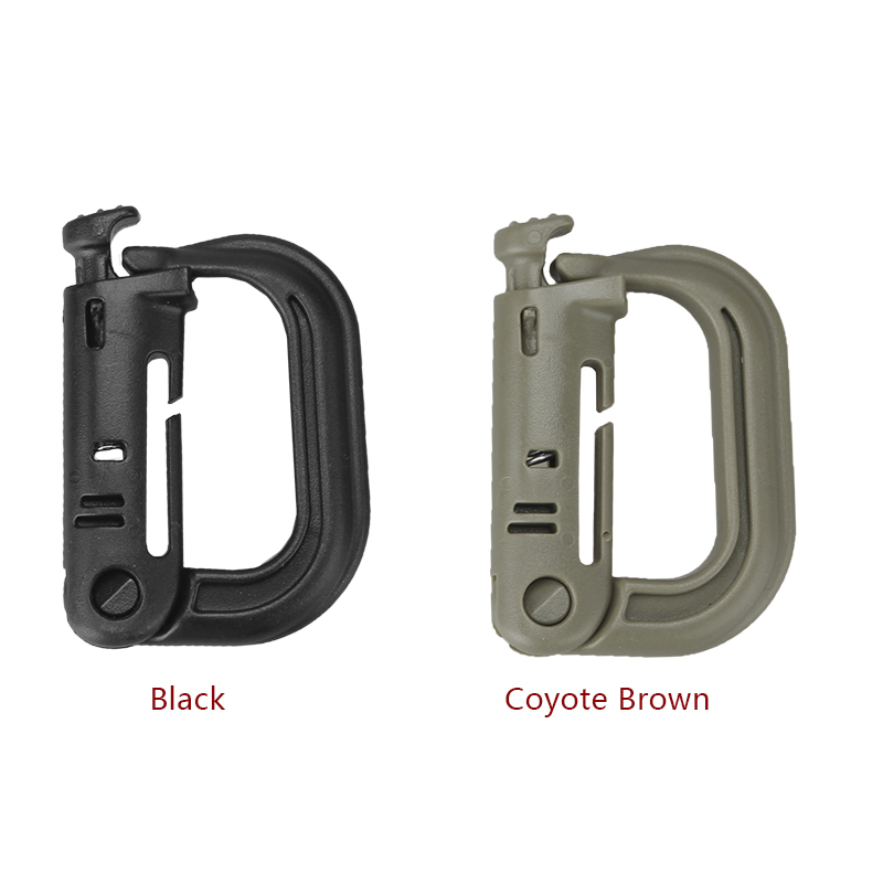 Plastic D Locking Ring Backpack Buckle Outdoor Carabiner Key Ring Snap Clip Key Molle Mount Military Locking Tool