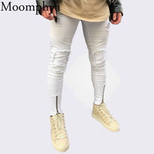 Moomphya 2018 New design Men zippers jeans Distressed Ripped holes patchwork jeans men Skinny hip hop white jeans for men(China)