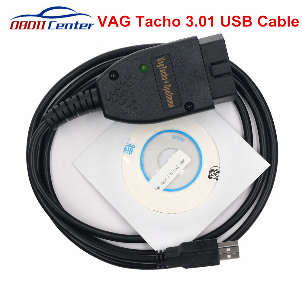 Newly Vag Tacho Usb V3.01 Ecu Diagnostic Cable Vagtacho 3.01 Scanner For Opel IMMO Airbag Reset Odometer Adjustment Tool Cable