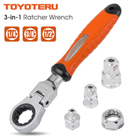 72 Teeth Ratchet Wrench 1/4 3/8 1/2 Adjustable Sleeve Adapter CR V Wrench Spanner Auto Repair Tools Socket Ratchet Handle