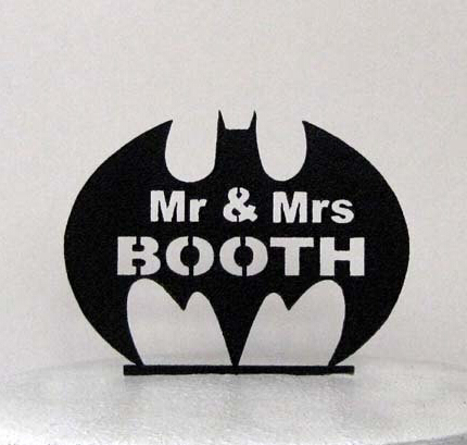 Acrylic Wedding Cake Toppers Batman Symbol With Mr Mrs
