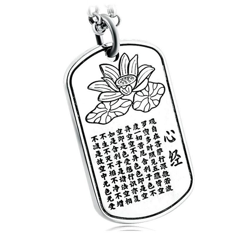 RADHORSE Pendentif 999 Sterling Argent Fin Bijoux rectangle lotus Coeur Écriture Unisexe S999 Argent Pendentifs
