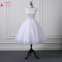 Short Cap Sleeves Knee Length Scoop Neckline Simple Ball Gown Wedding Dresses Satin Tulle Natural Waist