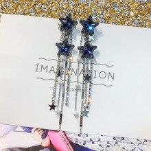 FYUAN Korean Style Shiny Star Drop Earrings for Women New Bijoux Long Tassel Blue Crystal Dangle Jewelry Accessories