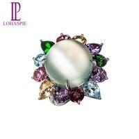 Naturalny Kamień Księżycowy Lohaspie & Diamond & Multi Kamienie 18 K White Gold Vintage Obrączki Dla Kobiet Biżuterii