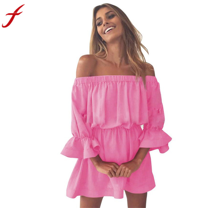 2018 New Arrival Dresses Women Flare Sleeve Off Shoulder Holiday Dress Ladies Summer Dress For Girl Shop Owner Recommended