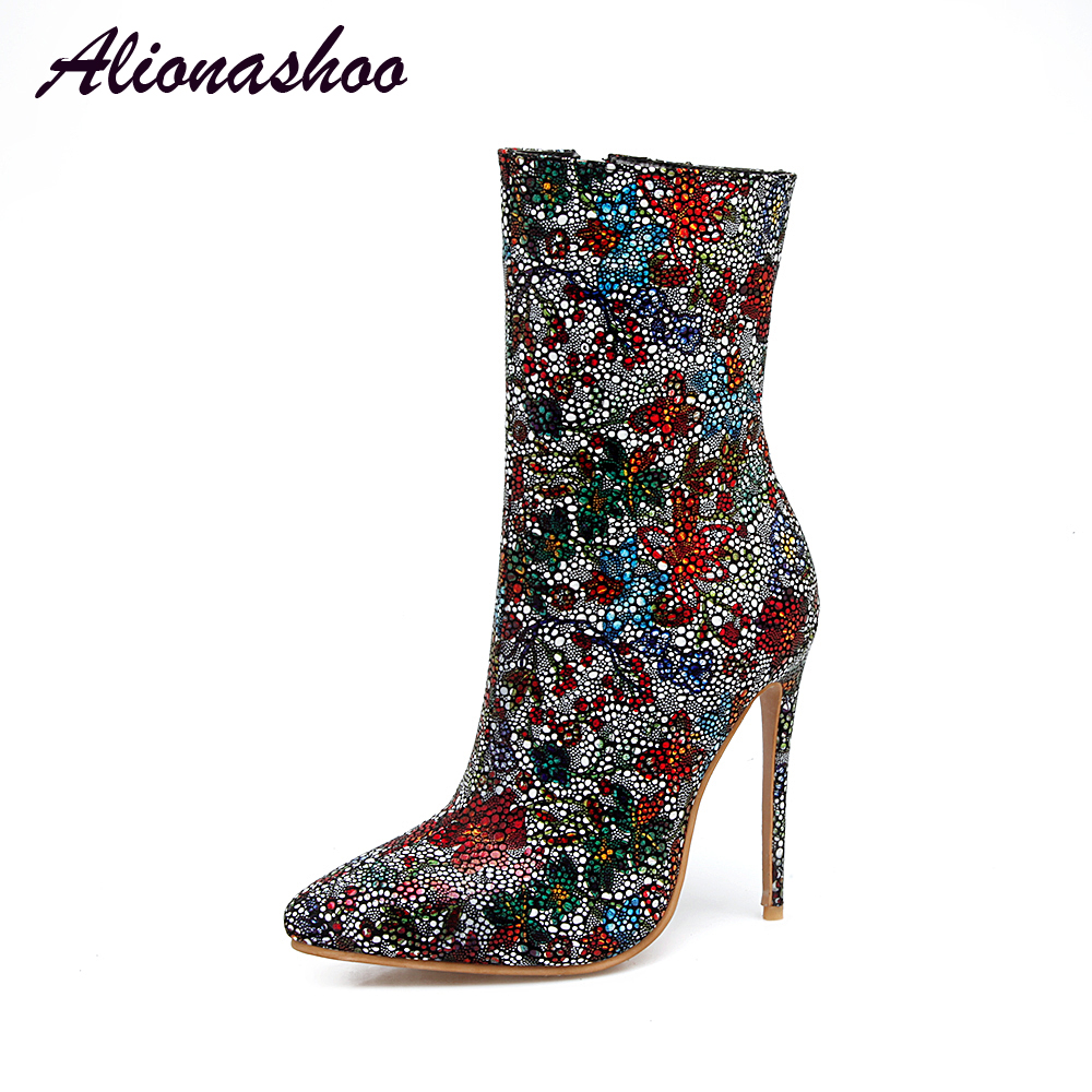 Alionashoo 2018 fashion shoes woman sexy floral boots zipper pointed toe stilettos high heels mid calf boots Ladies Plus Size 48 womens embroidery belt buckle stilettos high heel mid calf boots shoes pointed toe a70