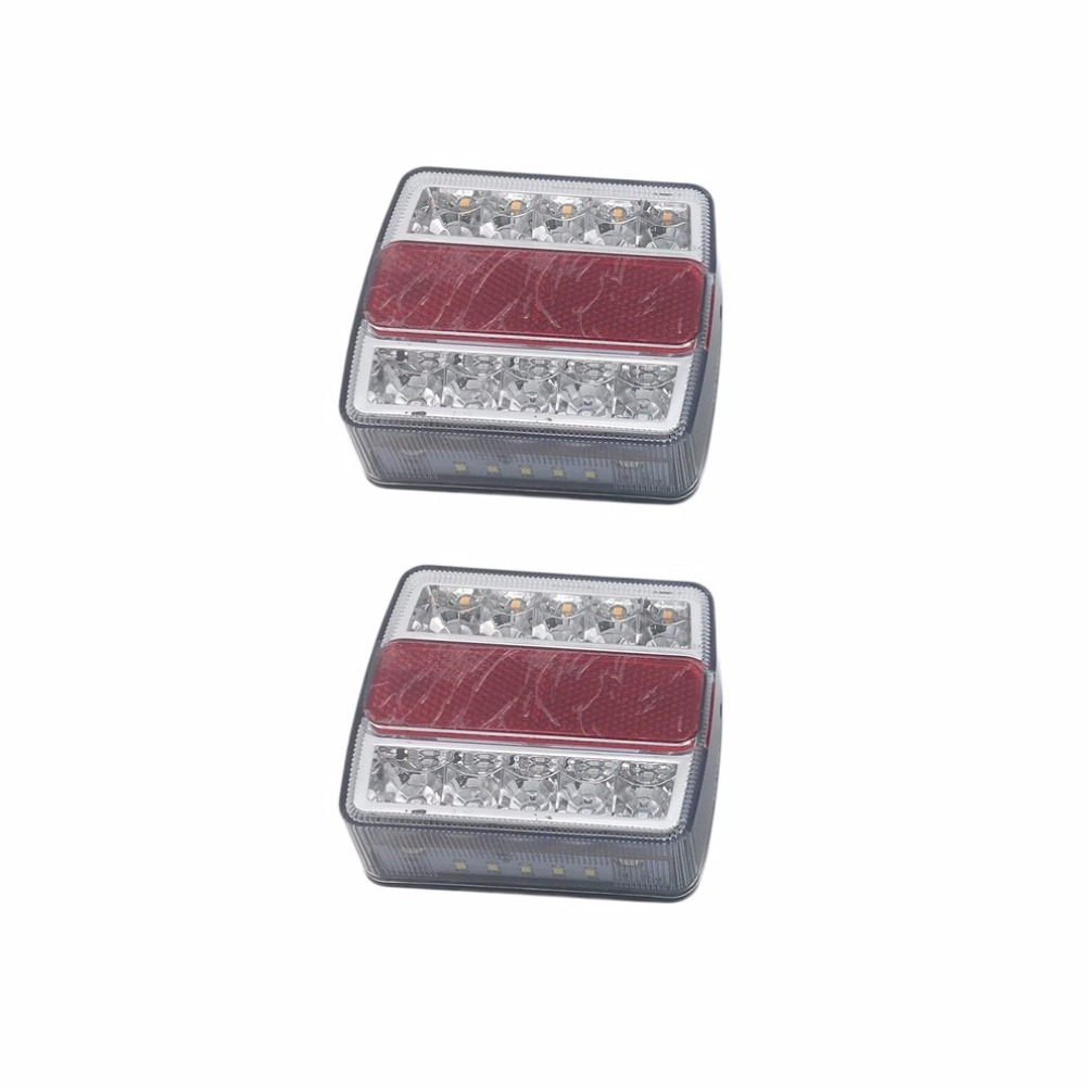 One Pair of Waterproof & Submersible Left & Right LED Trailer Lights Energy Efficient Amber & Red LED Lights For Vehicle Type one pair of 12v waterproof