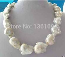 00642 REAL HUGE AAA SOUTH SEA WHITE BAROQUE PEARL NECKLACE NEW(China)
