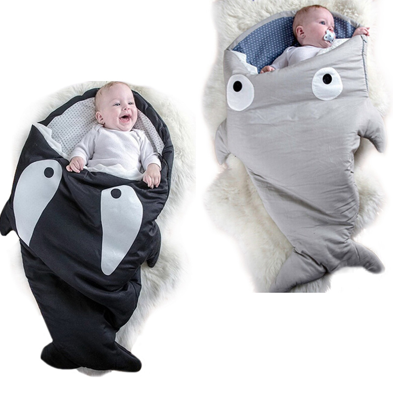 Warm Baby Sleeping Bag Soft Cotton Thick Blanket Winter  Shark Blanket For Kids  Sleeping Sack Baby