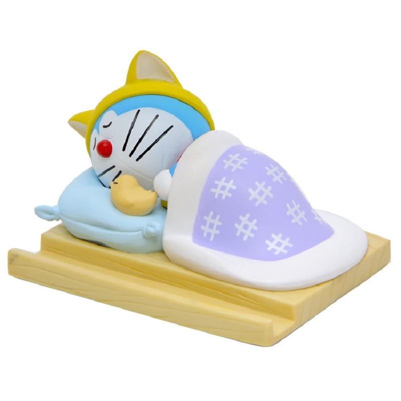 Japanese Animated Movie Doraemon Sleep Edition Doraemon Model PVC Action Figures Toys Creative Cell Phone Holder Children Gifts