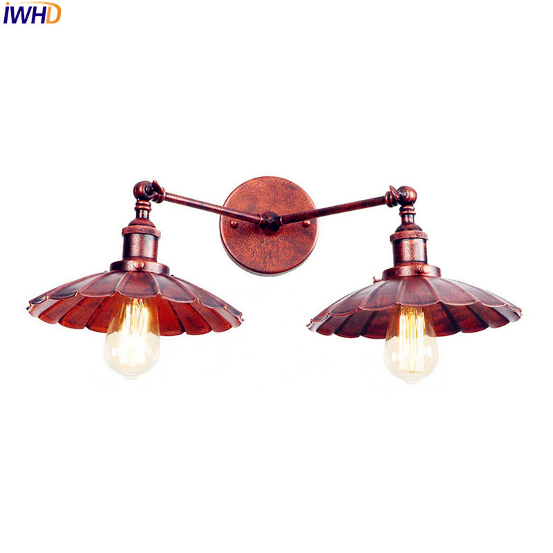 IWHD 2 Heads Rust Vintage LED Wall Lights For Home Lighting Iron Metal Loft Industrial Edison Wall Sconce Lamparas De Pared iwhd 2 heads black retro led wall light fixtures home lighting iron metal loft industrial vintage wall sconce lamp lampara pared