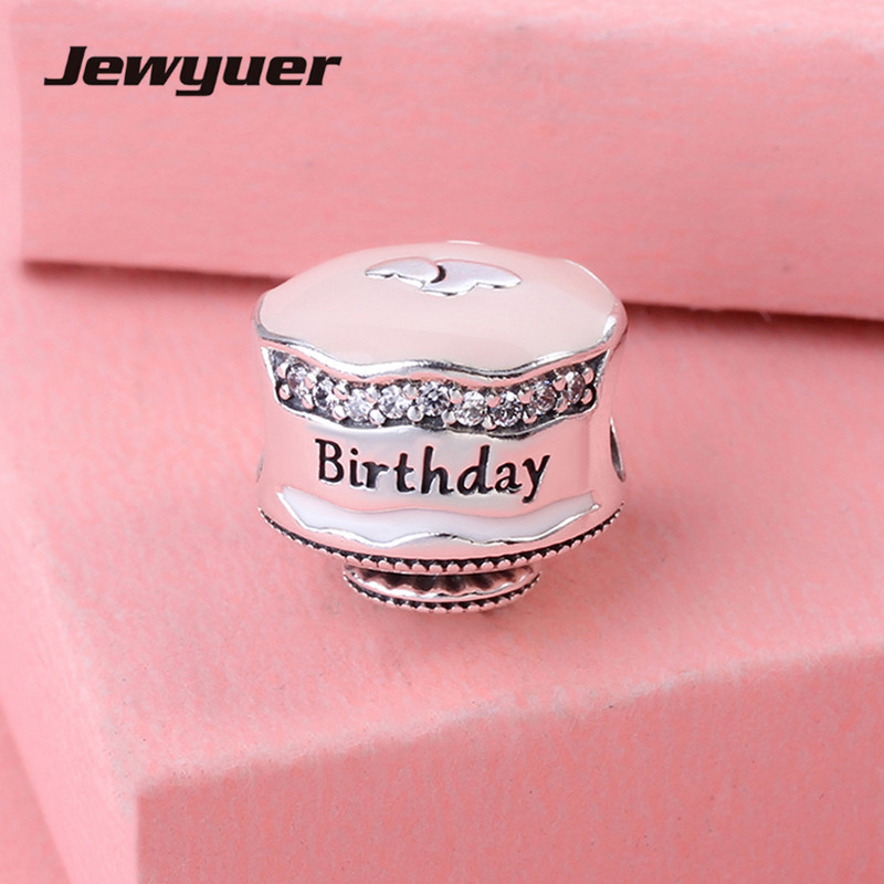 Happy Birthday Cake Silver Charms with Enamel 925 sterling silver jewelry beads fit bracelets necklace DIY fine jewelry BE1113