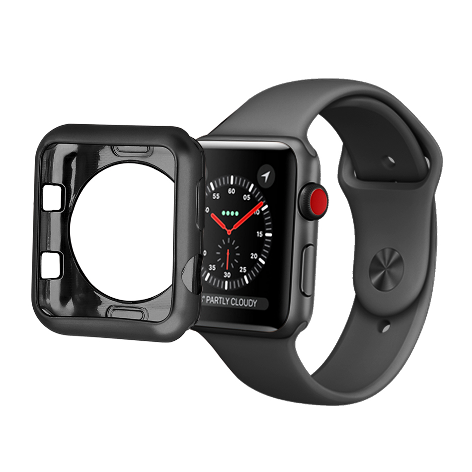 где купить Soft TPU protective Case for Apple Watch serise 3 2 Colorful PC Frame cover shell 38 mm 42 mm perfect match 6color bumper дешево