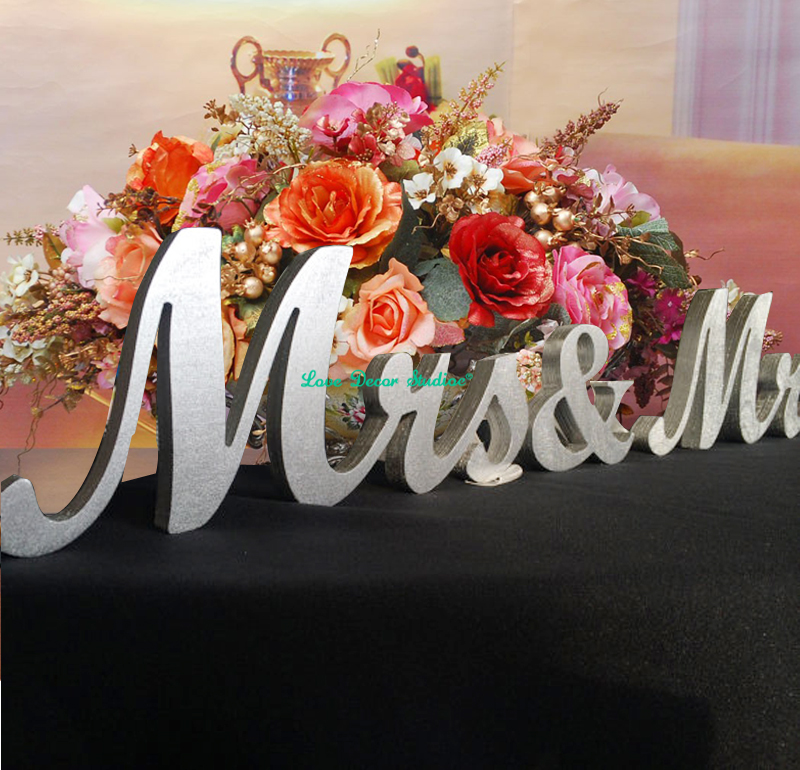 Painted in SILVER Mr & Mrs elegant script wooden letters for wedding table decor. Wedding top table Decor. ...