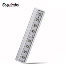 8 LED Night Light Bar Motion Sensor Light Closet Under Cabinet Light Battery Operated Wireless Wardrobe Lamp For Stairs Bed
