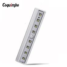 8 LED Night Light Bar Motion Sensor Light ตู้เสื้อผ้าภายใต้ตู้ Light แบตเตอรี่ดำเนินการไร้สายตู้เสื้อผ้าโคมไฟสำหรับบันไดเตียง
