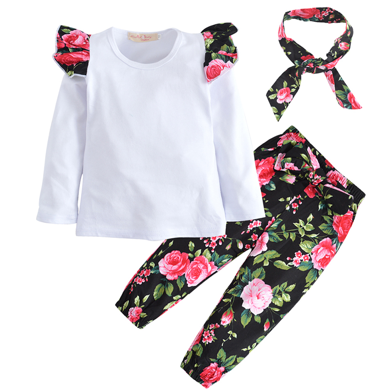 Baby Girl Clothing Set For Girls 2018 Autumn Hot Sale Infant White T-shirt Flower Pants Headband Set Toddler Baby Clothes 3Pcs