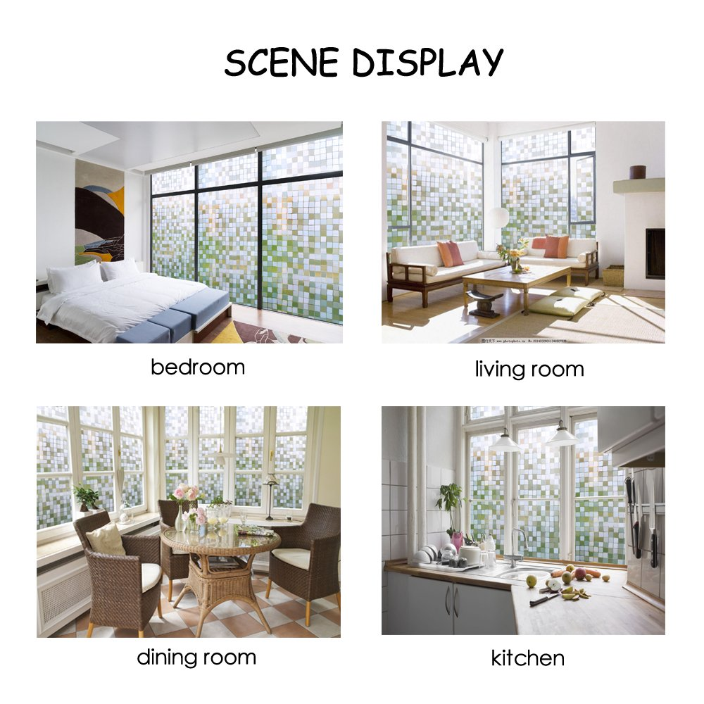 WXSHSH PVC Window Film Privacy Glass Sticker PVC Waterproof No Glue 3D Static Decorative Home Decor Size 45 60 75 90 x 300 cm in Decorative Films from Home Garden