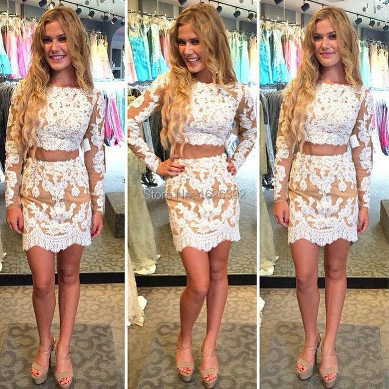 Long sleeve short lace homecoming dresses
