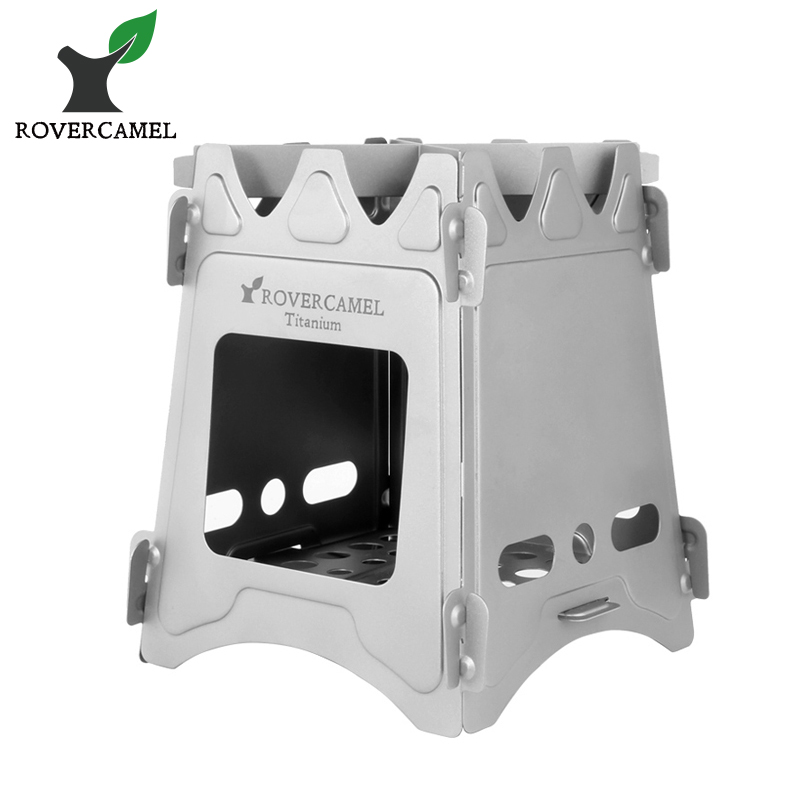 Rover Camel Ultralight Titanium Wood Stove Outdoor Camping Multi-Fuels Alcohol Stove BBQ ...
