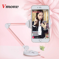 Vmonv 360 Degree Sucker SmartPhone Long Handle Folding Mount Holder for 3-6 Inch Iphone X 8 7 Lounger Bed Desktop Car Wall Stand