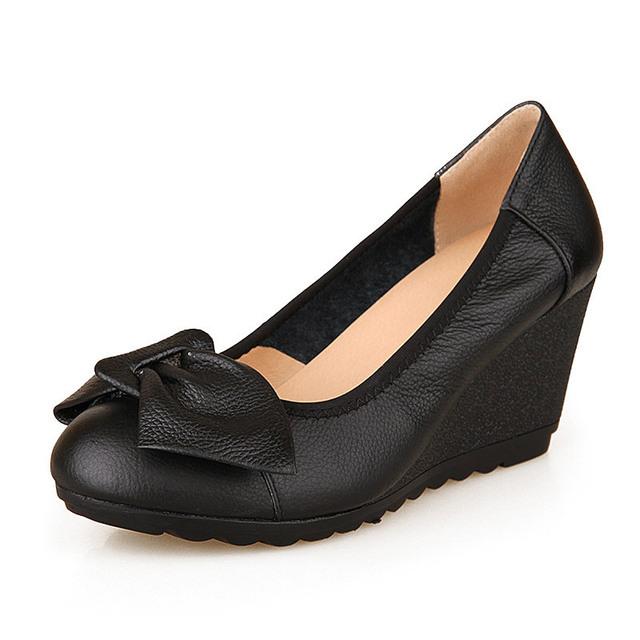 Cuñas de las mujeres zapatos de cuero genuino outsole del músculo vaca zurriago cómodo de tacón alto zapato
