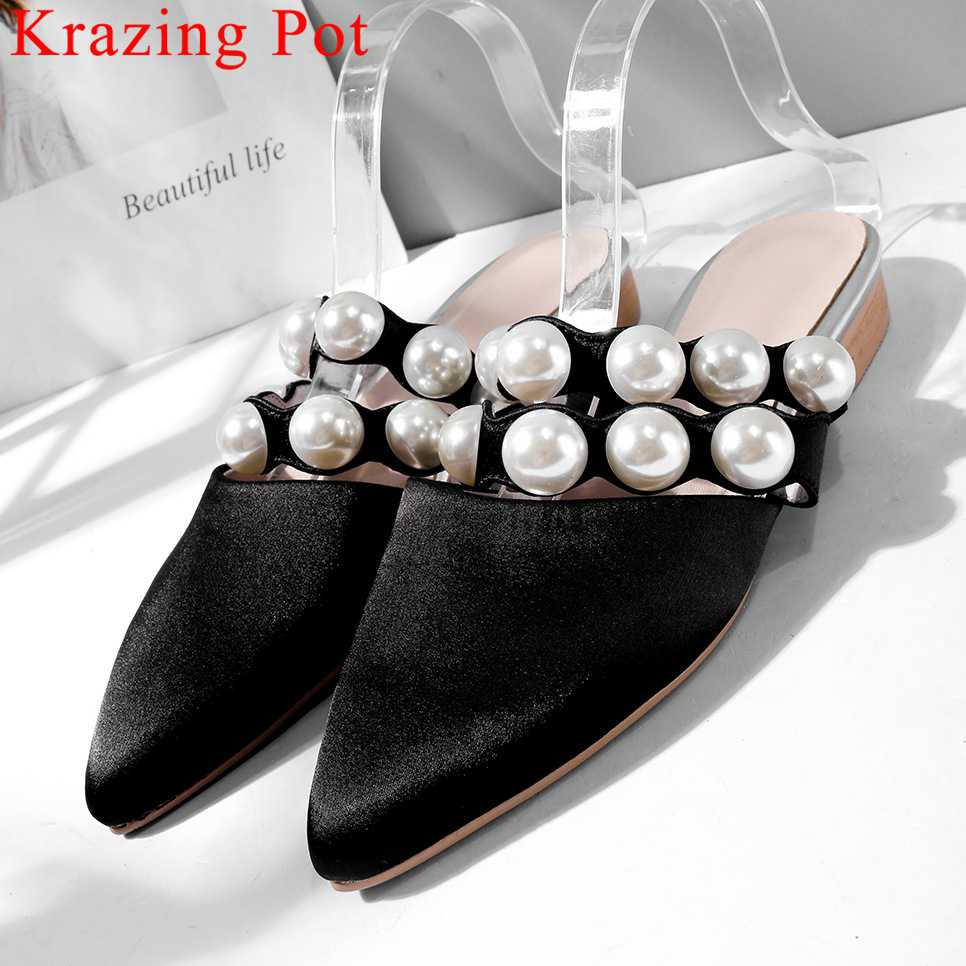 2019 large size Hollywood movie stars pearls decoration oxford pointed toe mules slip on satin natural leather dating shoes L872019 large size Hollywood movie stars pearls decoration oxford pointed toe mules slip on satin natural leather dating shoes L87