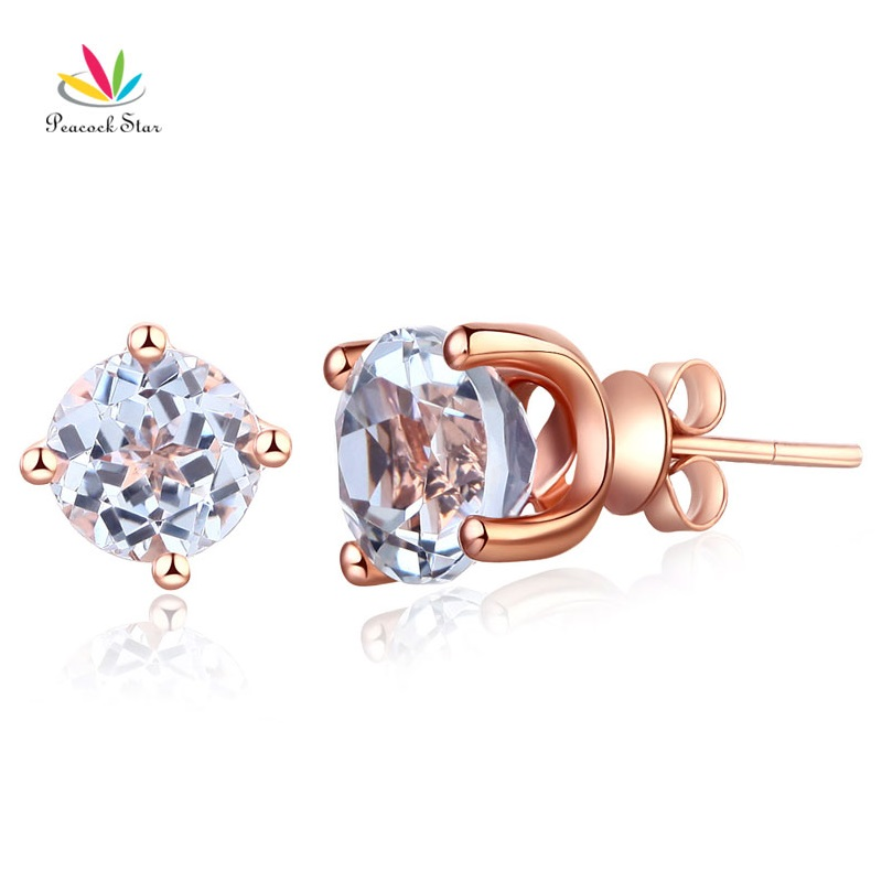 Peacock Star Solid 14K Rose Gold Stud 2.5 Ct Natural Clear Topaz Earrings solid 14k rose gold 100