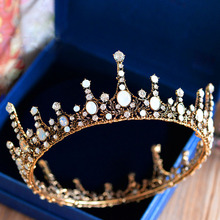 New Retro Baroque Rhinestone Brides Tiara Around Crown Crystal Wedding Hairbands Evening Hair Accessories