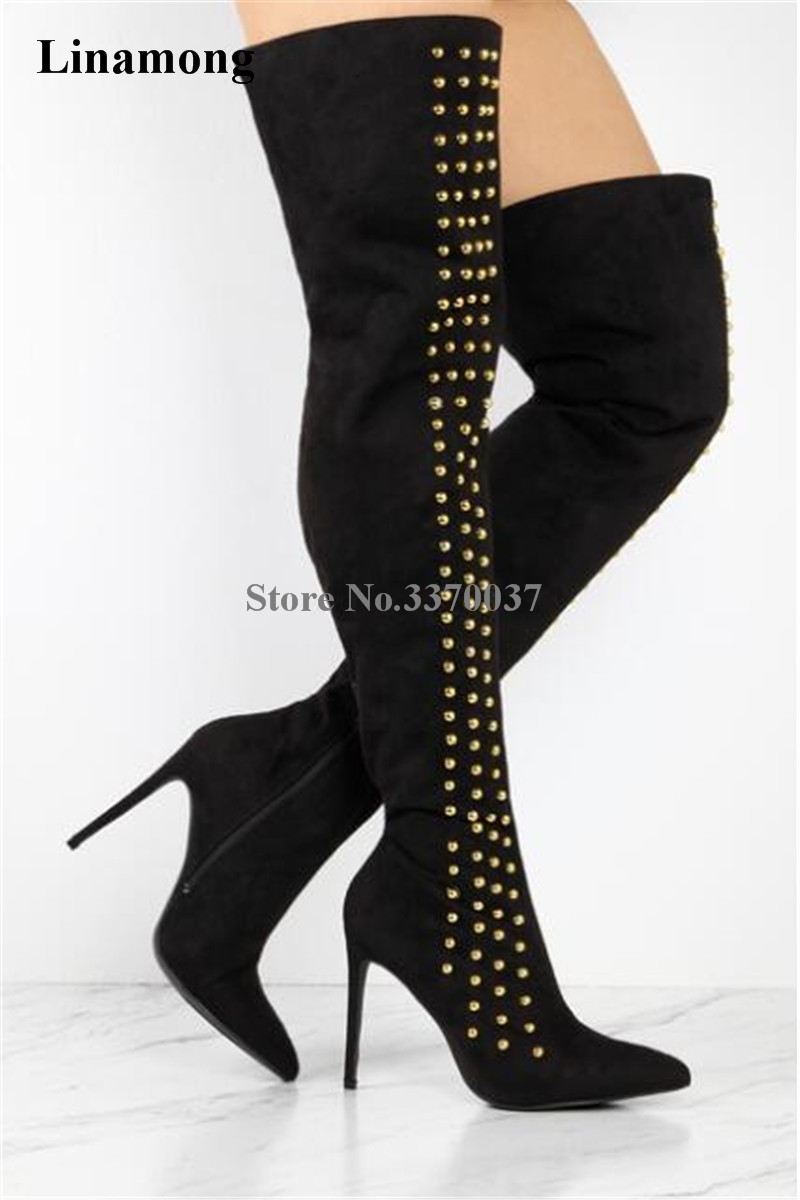 New Design Women Fashion Pointed Toe Suede Leather Over Knee Rivet High Heel Boots Gold Spike Thigh High Long Boots Dress Shoes цена 2017