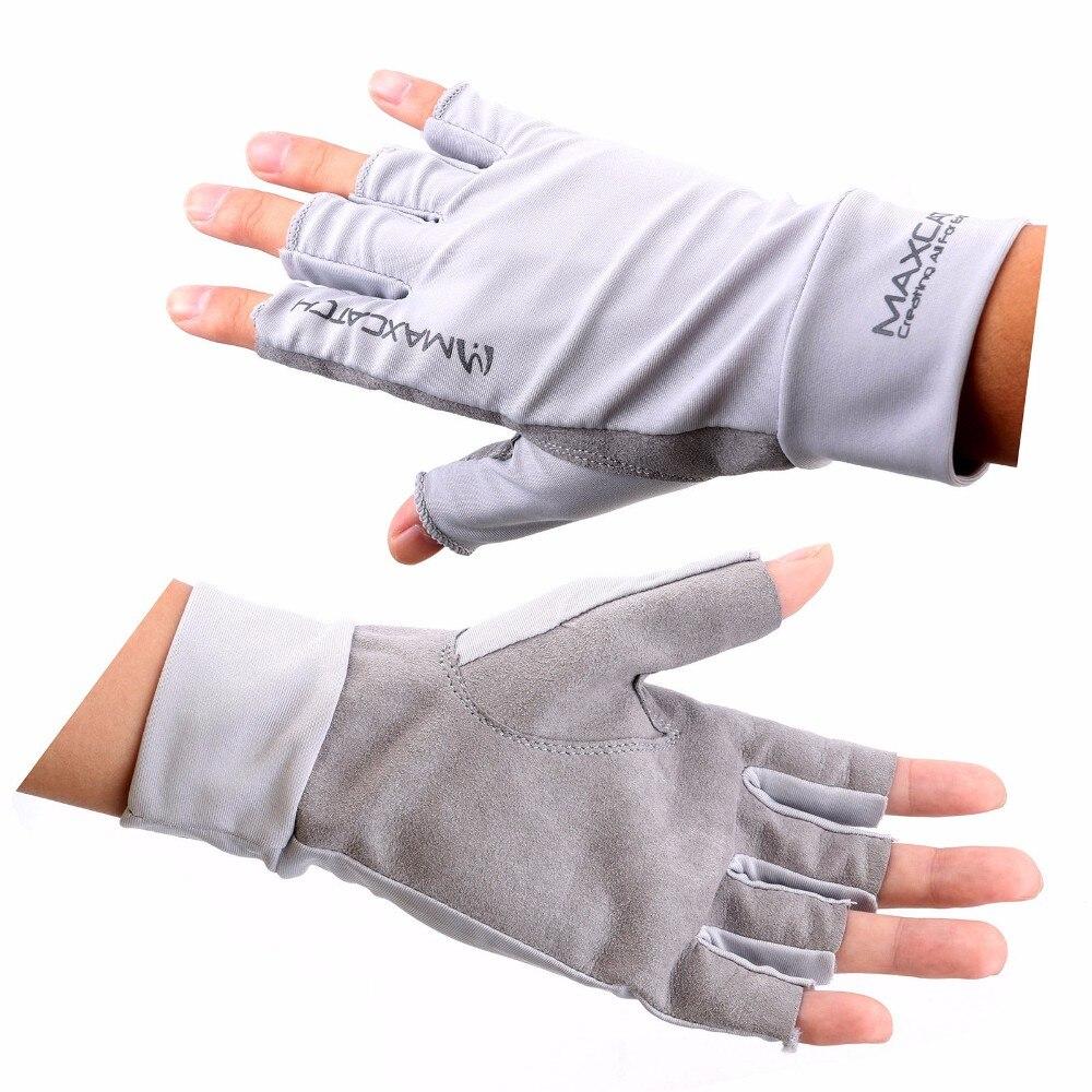 Fingerless gloves for sun protection - Summer Sun Protection Fingerless 5 Cut Slip Resistant Breathable Fly Fishing Gloves For Men Grey