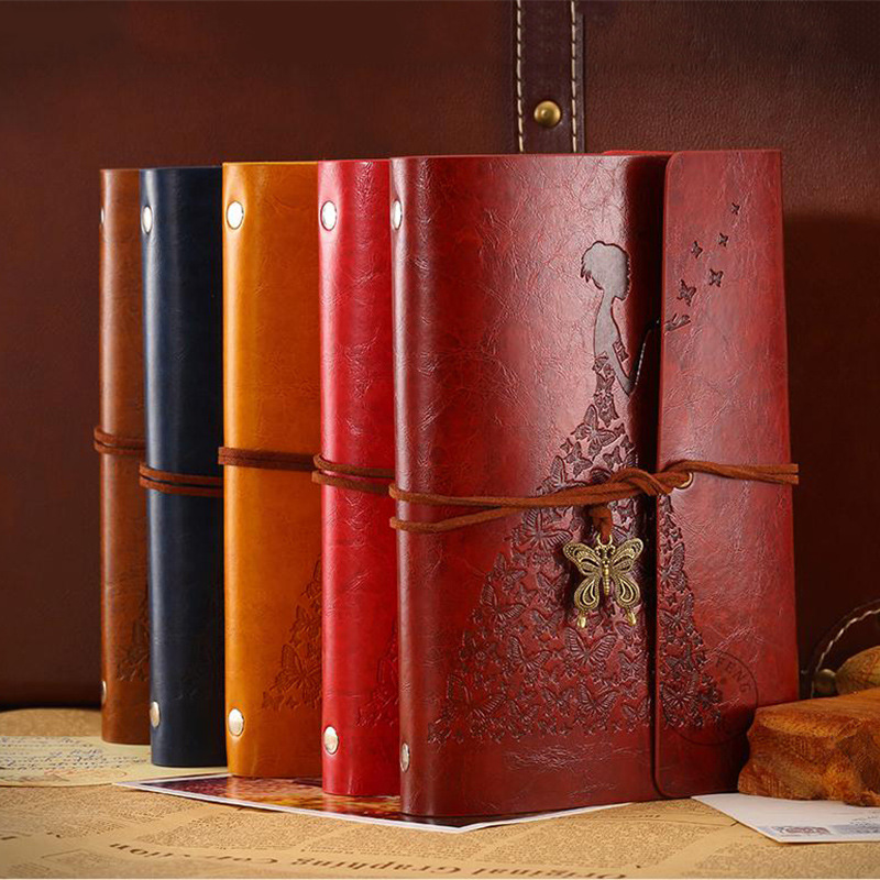 Travelers Butterfly Notebook Diary Notepad Vintage Literature PU A6 Leather Note Book Stationery Gift Traveler Journal Planners