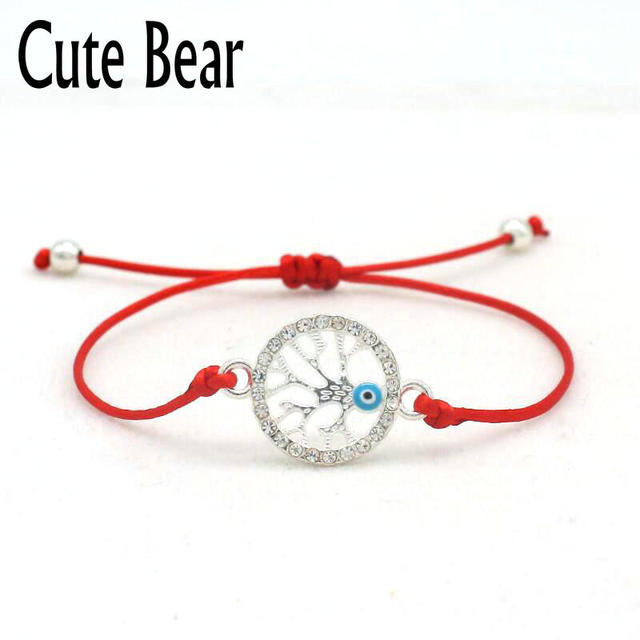 Cute Bear Brand Lucky Red String Rope Braided Bracelets Charm Simple Inlay Crystal Silver Color Life Tree Bracelet Women Jewelry