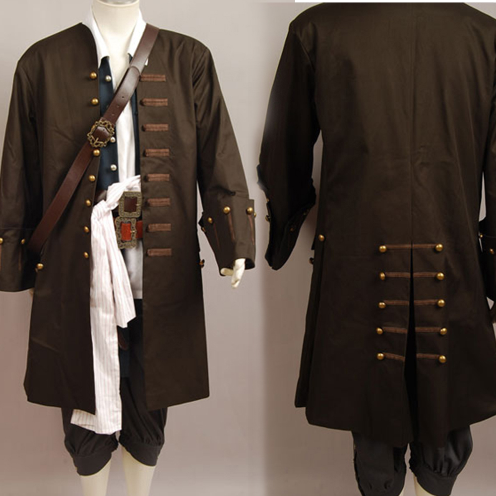 Pirates of The Caribbean 4 Captain Jack Sparrow Cosplay Costume Trench Coat Jacket Only For Adult Men