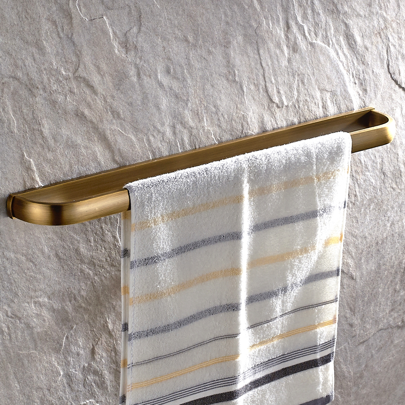 European Antique Solid Brass Single Towel Bar Luxury High Quality Brushed Towel Rack Wall Mounted Bathroom Accessories maideer high quality european style golden brass ceramic towel rack single towel bar bathroom accessories
