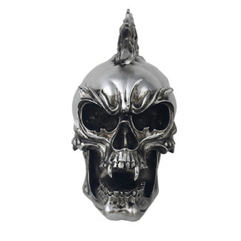 Retro Resin Silver Plating Punk Skull Helloween Prop Decorations Personality Pub Tricky Statue Ornaments X1040